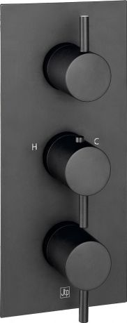 Just Taps VOS Matt Black With  Thermostatic Concealed 3 Outlet Shower Valve, Verticle