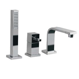 Just Taps Single Lever 3-Hole Bath Mixer Deck Mounted With Spout, Extractable Hand Shower And Diverter