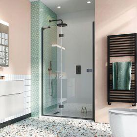 Crosswater Shower Enclosures Design 8 Matt Black Hinged Door with Inline Panel 1000mm