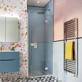Crosswater Shower Enclosures Design 8 Silver Hinged Door with Inline Panel 760mm