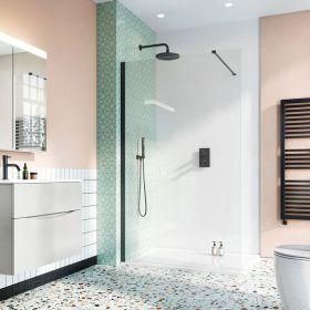 Crosswater Shower Enclosures Design 8 Matt Black Side Panel 800mm