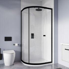 Crosswater Shower Enclosures Clear 6 Matt Black Quadrant Single Door 900mm