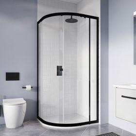 Crosswater Shower Enclosures Clear 6 Matt Black Offset Quadrant Single Door 1000 x 800mm
