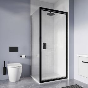 Crosswater Shower Enclosures Clear 6 Matt Black Side Panel 800mm