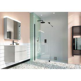 Crosswater Shower Enclosures Design 8 Matt Black Walk In Retro Fit 90° Deflector Panel 300mm