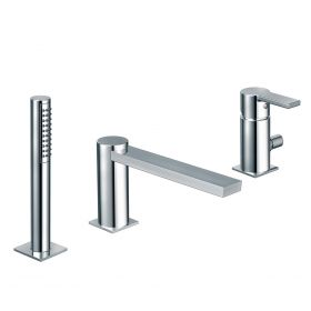 Just Taps Italia 150 3 Hole Single Lever Bath Shower Mixer With Pull Out Hand Shower