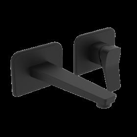 Just Taps Hix Matt Black single lever wall mounted basin mixer