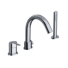 Just Taps Ovaline 3 Hole Single Lever Bath And Shower Mixer With Extractable Handset