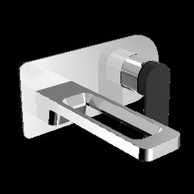 Just Taps AXEL Chrome & Matt Black Single Lever Wall Mounted Basin Mixer