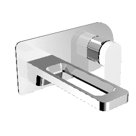 Just Taps AXEL Chrome & Matt White Single Lever Wall Mounted Basin Mixer