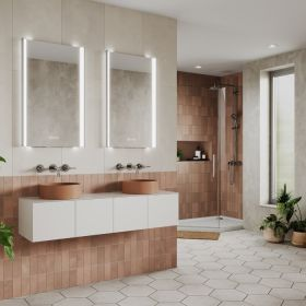 HIB Fold Bathroom Mirror with adjustable lighting – 50cm