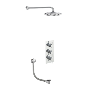 Just Taps Round Thermostat with Extractable Hand Shower and Bath Filler