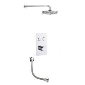 Just Taps Hugo 2 Outlet Touch Thermostat with Overhead Shower and Bath Filler