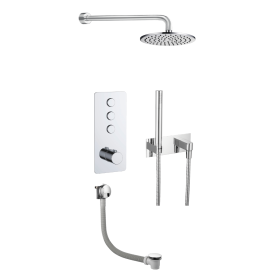 Just Taps Hugo 3 Outlet Touch Thermostat with Hand, Overhead Shower & Bath Filler