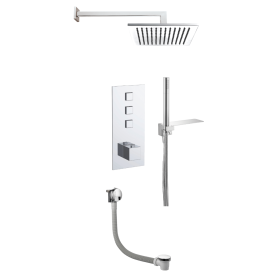 Just Taps Athena 3 Outlet Touch Thermostat with Overhead, Hand Shower & Bath Filler