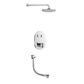 Just Taps Leo 2 Outlet Touch Thermostat with Overhead Shower & Bath Filler
