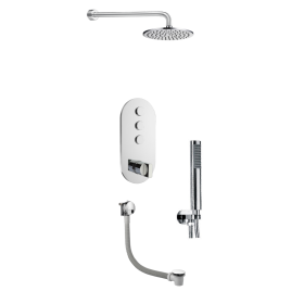 Just Taps Leo 3 Outlet Touch Thermostat with Overhead, Hand Shower & Bath Filler