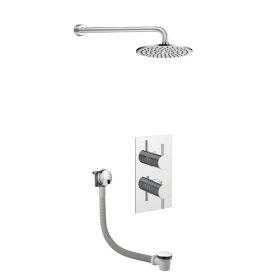 Just Taps Round Thermostat with Overhead Shower and Bath Filler