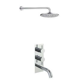Just Taps Round Thermostat Bath Shower Filler with Overhead Shower