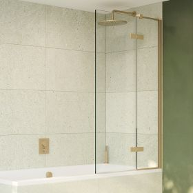 Crosswater Optix 10 Single with Inline Panel Bathscreen Brushed Brass