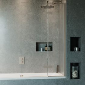 Crosswater Optix 10 Single with Inline Panel Bathscreen Brushed Stainless Steel