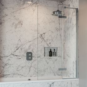 Crosswater Optix 10 Single with Inline Panel Bathscreen Polished Stainless Steel