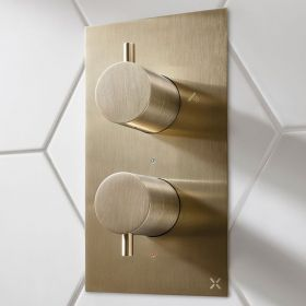Crosswater MPRO Brushed Brass Thermostatic Bath Shower Valve
