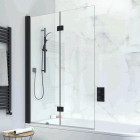 Crosswater Design+ Matt Black Double Folding Bath Screen