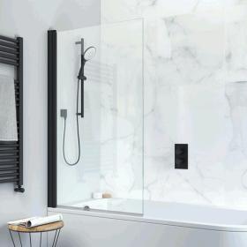 Crosswater Design+ Matt Black Single Bath Screen