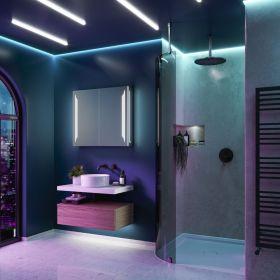 HIB Dimension Bathroom LED Cabinets 80cm x 70cm x 14cm