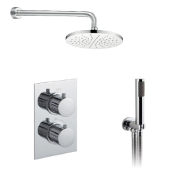 Just Taps Plus Round Thermostatic Concealed 2 Outlet Shower Pack
