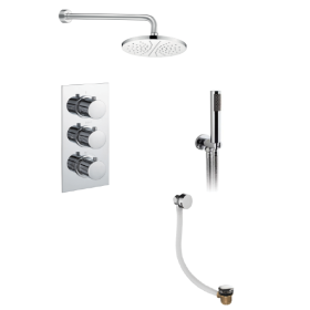 Just Taps Plus Round Thermostatic Concealed 3 Outlet Shower Pack