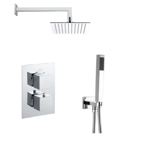 Just Taps Plus Square Thermostatic Concealed 2 Outlet Shower Pack