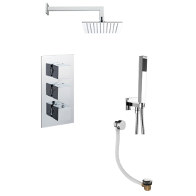 Just taps Plus Square Thermostatic Concealed 3 Outlet Shower Pack
