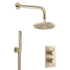 Crosswater MPRO Brushed Brass 2 Outlet 2-Handle Shower Bundle