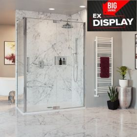 Crosswater Optix 10 Pivot Shower 1200mm Door with Inline Panel and  800mm Side Panel - Polished Stainless Steel