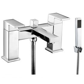 Just Taps Plus Sable Deck Mounted Bath Shower Mixer with Kit
