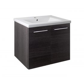 Just Taps Pace 600 Wall Mounted Unit with Doors and Basin – Black