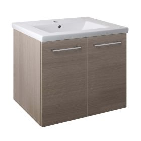 Just Taps Pace 600 Wall Mounted Unit with Doors and Basin – Grey