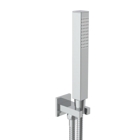 Just Taps Square water outlet and holder with metal hose and slim handshower