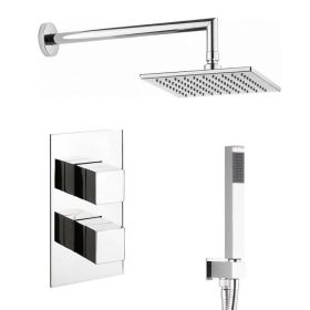 Crosswater Water Square Shower Head & Twin Shower Valve with Diverter – 200mm
