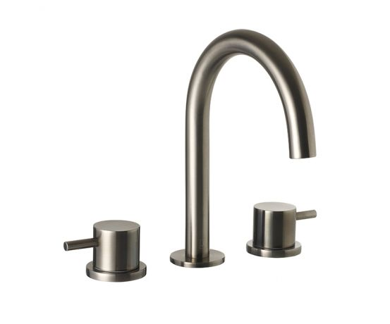 Just Taps VOS Brushed Black 3 Hole Deck Mounted Basin Mixer