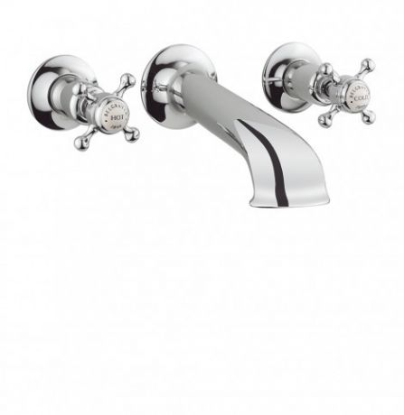 Crosswater Belgravia Crosshead Bath Spout with Wall Stop Taps