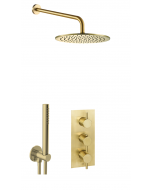 Just Taps Vos Shower Combination 2 Outlet Brushed Brass