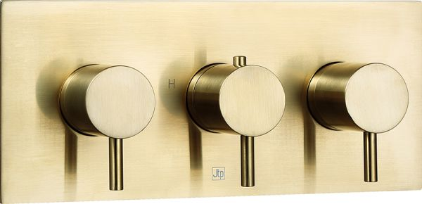 Just Taps VOS Brushed Brass  Thermostatic Concealed 3 Outlet Shower Valve, Horizontal