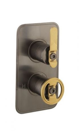 Crosswater UNION 1 Outlet 2 Handle Concealed Thermostatic Shower Brushed Black Chrome & Union Brass