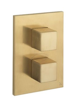 Crosswater Water Square/Verge Crossbox 1 Outlet Valve (1000 Valve) - Brushed Brass