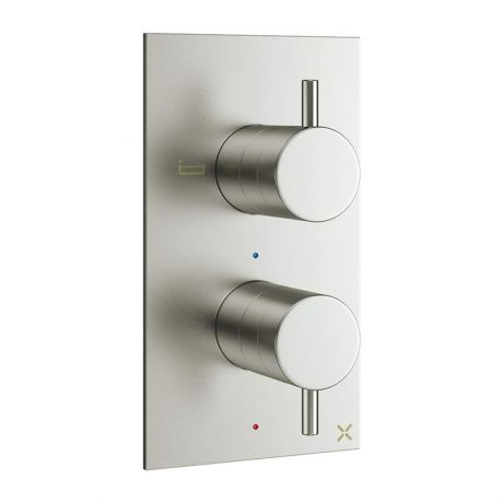 Crosswater MPRO 2 Outlet Concealed Thermostatic Bath and Shower Valve - Brushed Stainless Steel