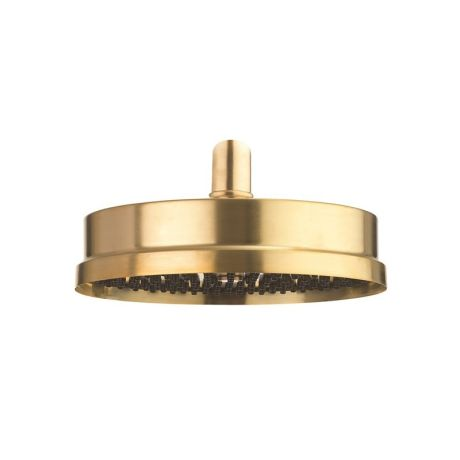 """Crosswater MPRO Industrial Easy Clean Shower Head 8"""" - Unlacquered Brushed Brass"""