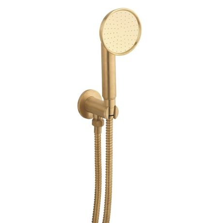 Crosswater MPRO Industrial Wall Outlet, Single Mode Handset & Hose - Unlacquered Brushed Brass